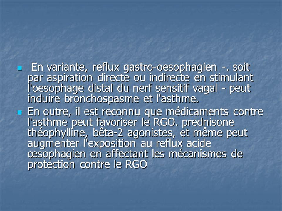En variante, reflux gastro-oesophagien -. soit par aspiration directe ou indirecte en stimulant l'oesophage distal du nerf sensitif vagal - peut indui