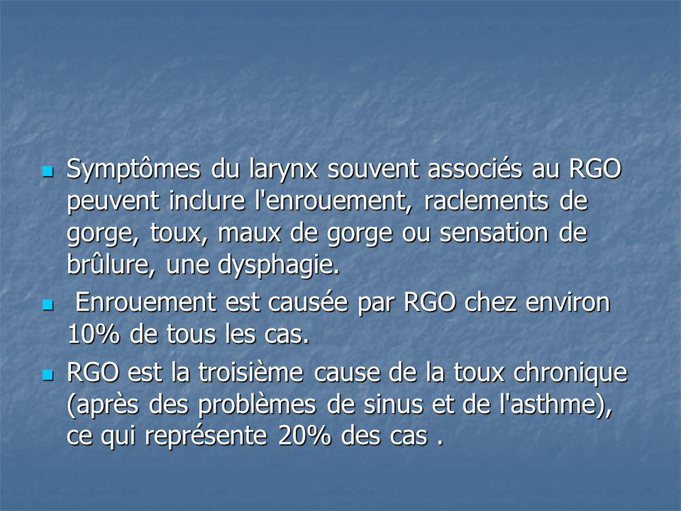 Symptômes du larynx souvent associés au RGO peuvent inclure l'enrouement, raclements de gorge, toux, maux de gorge ou sensation de brûlure, une dyspha