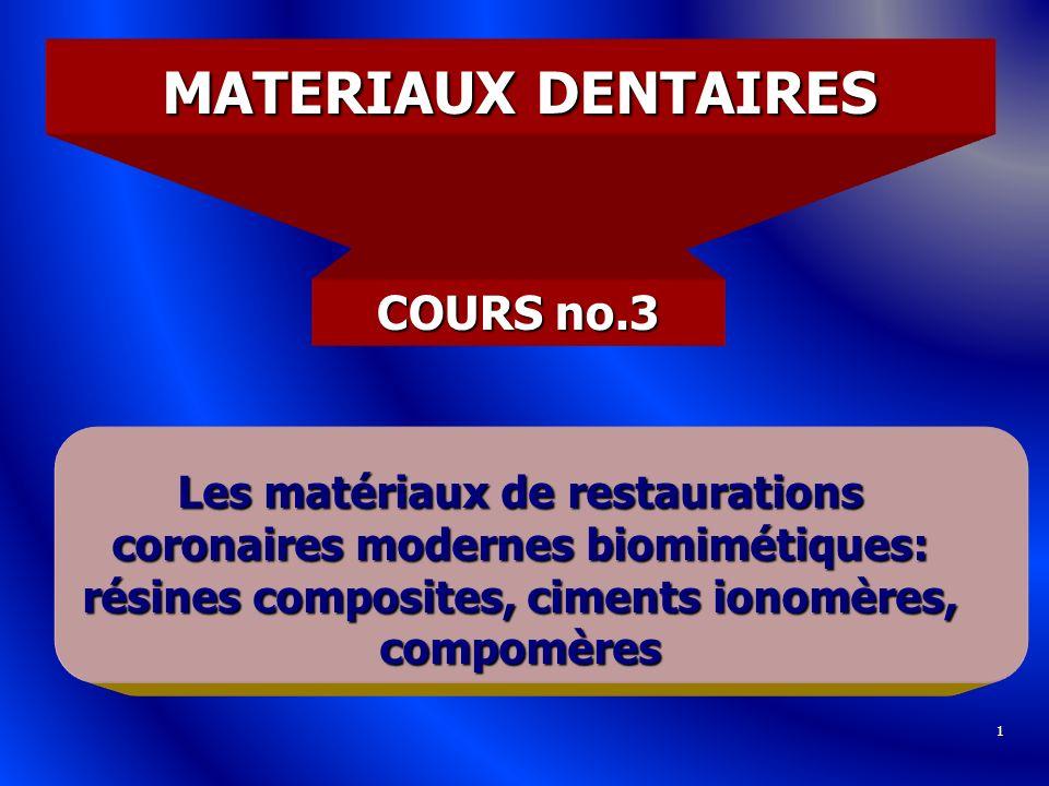 1 MATERIAUX DENTAIRES COURS no.3 Les matériaux de restaurations coronaires modernes biomimétiques: résines composites, ciments ionomères, compomères