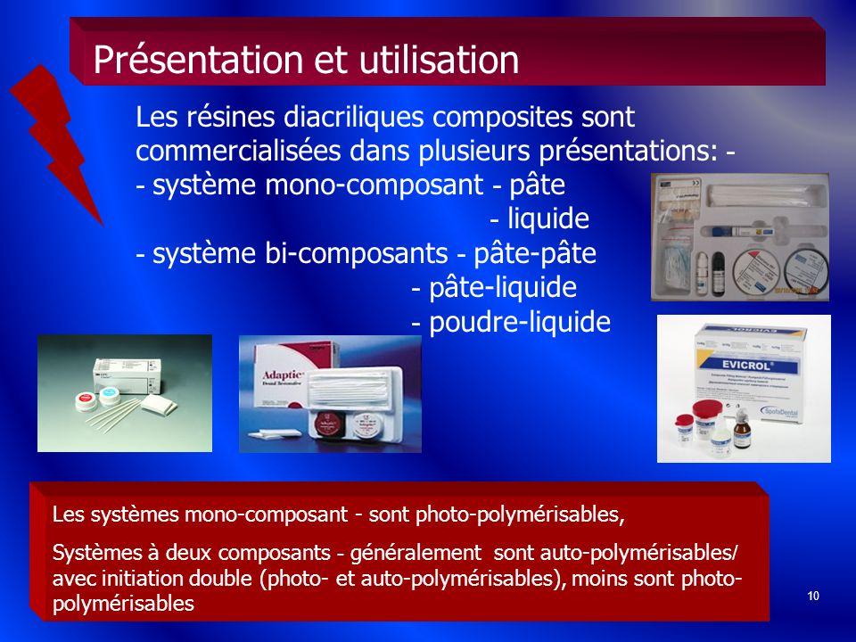 10 Les résines diacriliques composites sont commercialisées dans plusieurs présentations: - - système mono-composant - pâte - liquide - système bi-com