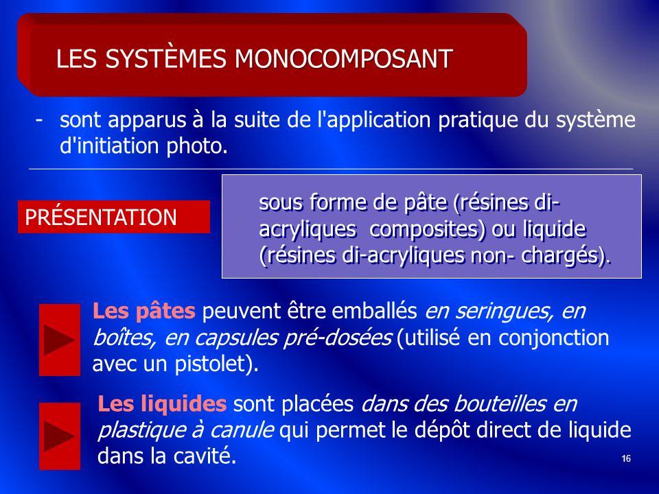 16 -sont apparus à la suite de l'application pratique du système d'initiation photo. MONOCOMPOSANT LES SYSTÈMES MONOCOMPOSANT sous forme de pâte ( rés
