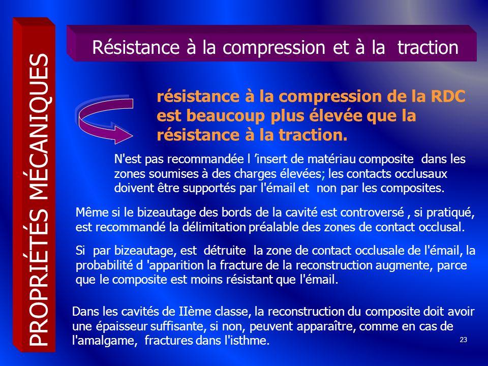 23 résistance à la compression de la RDC est beaucoup plus élevée que la résistance à la traction. PROPRIÉTÉS MÉCANIQUES Résistance à la compression e