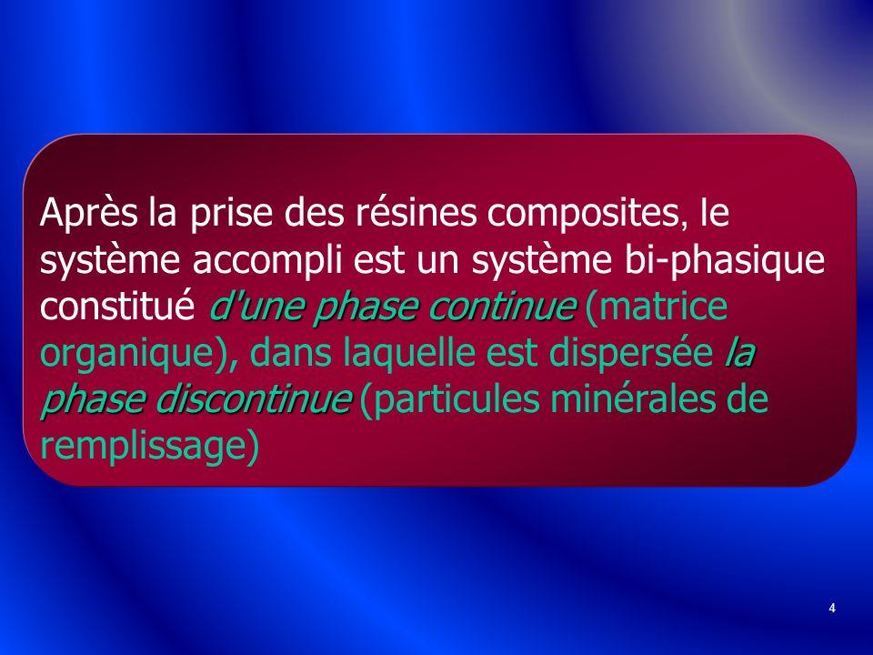 4 d'une phase continue la phase discontinue Après la prise des résines composites, l e système accompli est un système bi-phasique constitué d'une pha