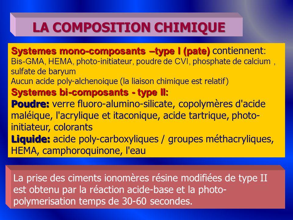 45 Systemes mono-composants –type I (pate) Systemes mono-composants –type I (pate) contiennent : Bis-GMA, HEMA, photo-initiateur, poudre de CVI, p hos