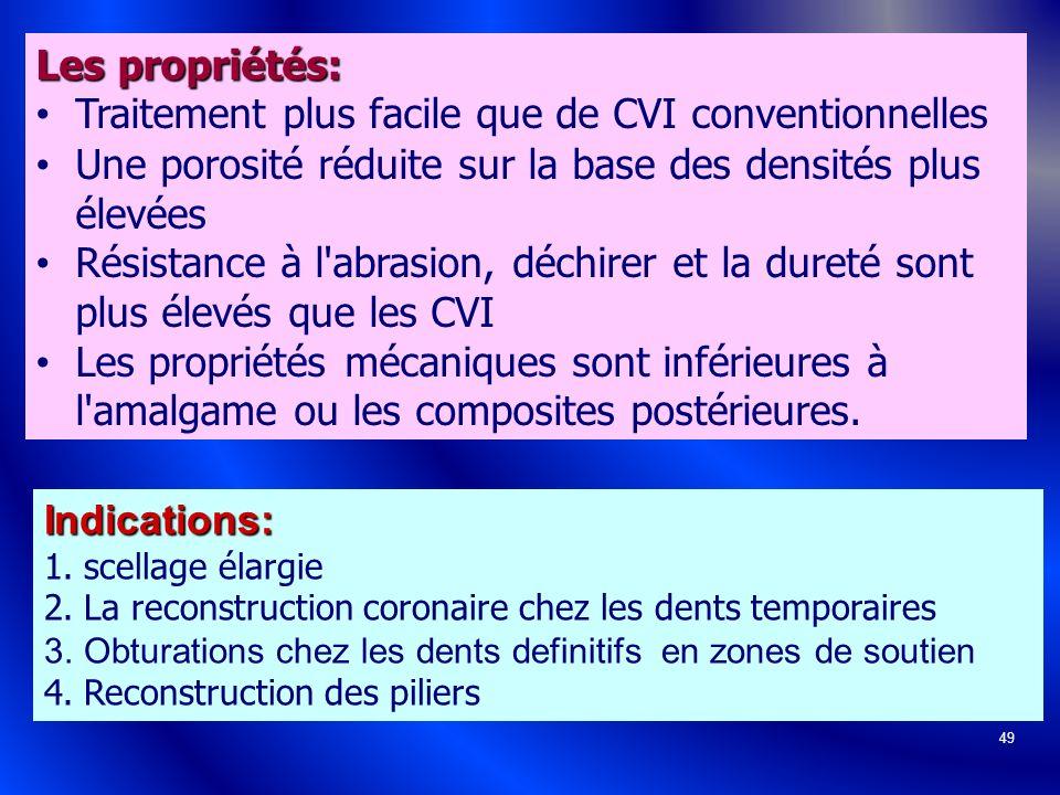 49 Les propriétés: Traitement plus facile que de CVI conventionnelles Une porosité réduite sur la base des densités plus élevées Résistance à l'abrasi