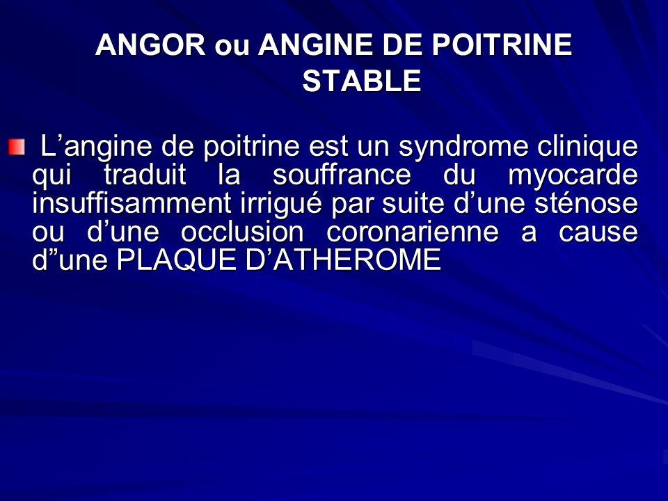 ANGOR ou ANGINE DE POITRINE STABLE Langine de poitrine est un syndrome clinique qui traduit la souffrance du myocarde insuffisamment irrigué par suite