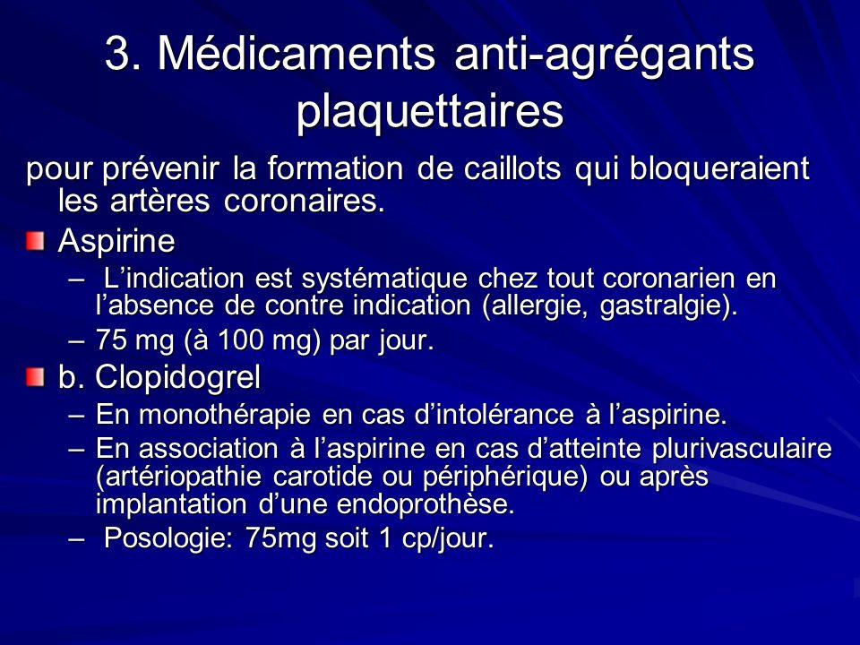 3. Médicaments anti-agrégants plaquettaires pour prévenir la formation de caillots qui bloqueraient les artères coronaires. Aspirine – Lindication est
