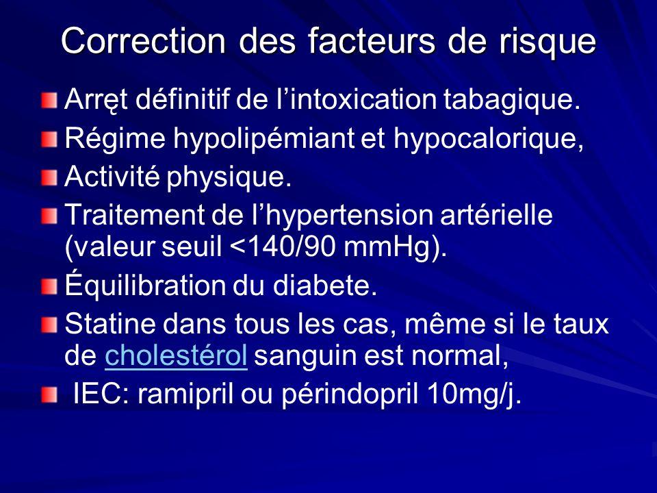 Correction des facteurs de risque Arręt définitif de lintoxication tabagique. Régime hypolipémiant et hypocalorique, Activité physique. Traitement de