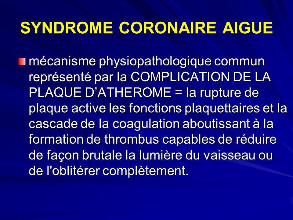 SYNDROME CORONAIRE AIGUE mécanisme physiopathologique commun représenté par la COMPLICATION DE LA PLAQUE DATHEROME = la rupture de plaque active les f