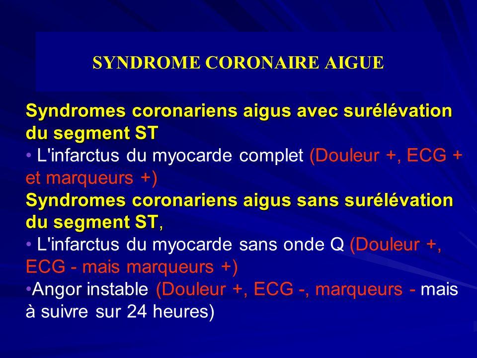 SYNDROME CORONAIRE AIGUE Syndromes coronariens aigus avec surélévation du segment ST Syndromes coronariens aigus sans surélévation du segment ST, L'in