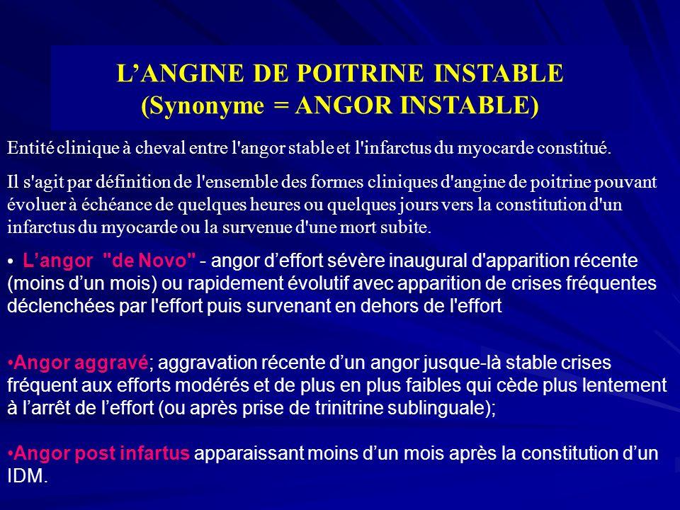 LANGINE DE POITRINE INSTABLE (Synonyme = ANGOR INSTABLE) Entité clinique à cheval entre l'angor stable et l'infarctus du myocarde constitué. Il s'agit