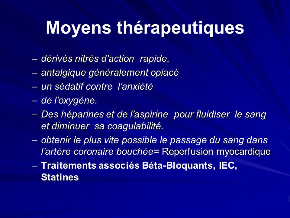 Moyens thérapeutiques –dérivés nitrés daction rapide, –antalgique généralement opiacé – –un sédatif contre lanxiété – –de loxygène. –Des héparines et