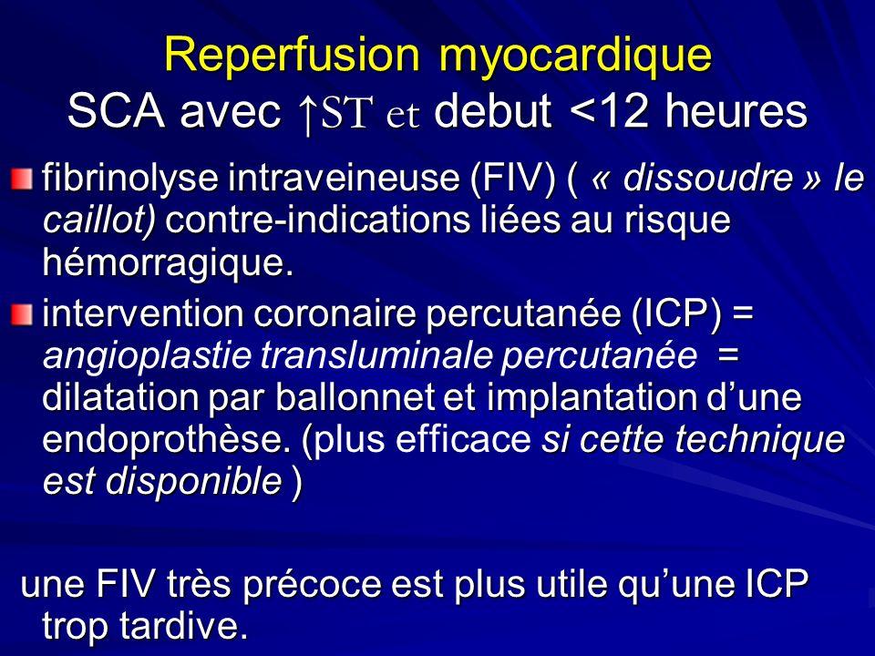 Reperfusion myocardique SCA avec ST et debut <12 heures fibrinolyse intraveineuse (FIV) ( « dissoudre » le caillot) contre-indications liées au risque