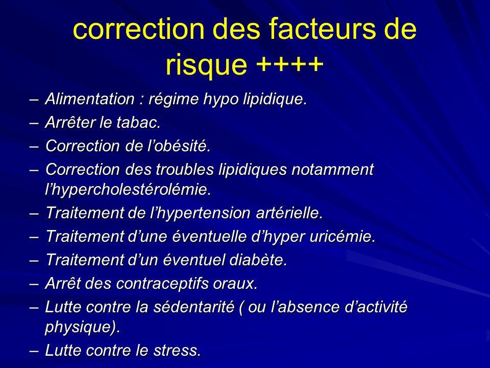 correction des facteurs de risque ++++ –Alimentation : régime hypo lipidique. –Arrêter le tabac. –Correction de lobésité. –Correction des troubles lip