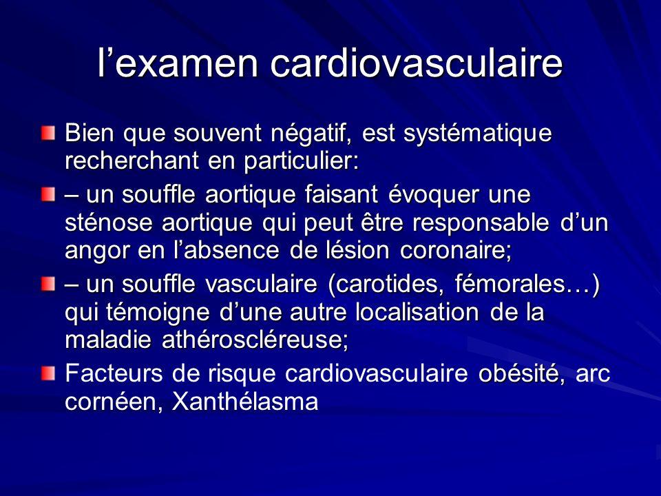 lexamen cardiovasculaire Bien que souvent négatif, est systématique recherchant en particulier: – un souffle aortique faisant évoquer une sténose aort