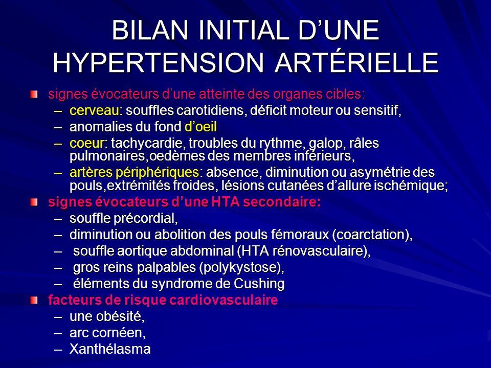 BILAN INITIAL DUNE HYPERTENSION ARTÉRIELLE signes évocateurs dune atteinte des organes cibles: –cerveau: souffles carotidiens, déficit moteur ou sensi