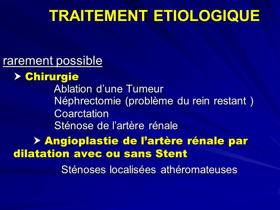 TRAITEMENT ETIOLOGIQUE rarement possible Chirurgie Chirurgie Ablation dune Tumeur Ablation dune Tumeur Néphrectomie (problème du rein restant ) Néphre