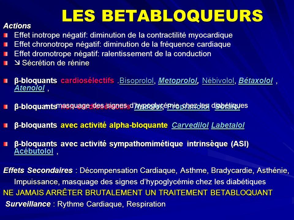 LES BETABLOQUEURS Actions Effet inotrope négatif: diminution de la contractilité myocardique Effet chronotrope négatif: diminution de la fréquence car