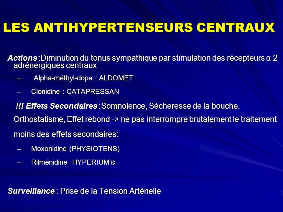 LES ANTIHYPERTENSEURS CENTRAUX Actions :Diminution du tonus sympathique par stimulation des récepteurs α 2 adrénergiques centraux Actions :Diminution