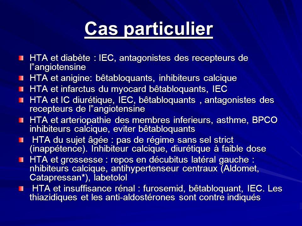 Cas particulier Cas particulier HTA et diabète : IEC, antagonistes des recepteurs de langiotensine HTA et anigine: bêtabloquants, inhibiteurs calcique