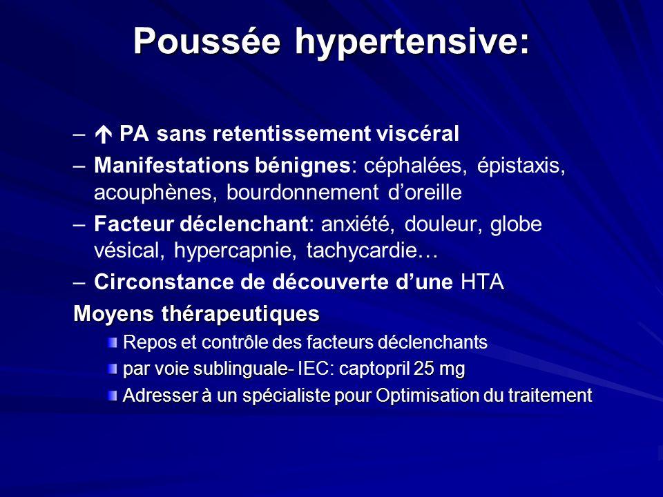 Poussée hypertensive: – – PA sans retentissement viscéral – –Manifestations bénignes: céphalées, épistaxis, acouphènes, bourdonnement doreille – –Fact