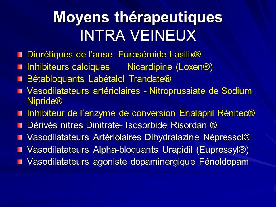 Moyens thérapeutiques INTRA VEINEUX Diurétiques de lanse Furosémide Lasilix® Inhibiteurs calciquesNicardipine (Loxen®) Bêtabloquants Labétalol Trandat