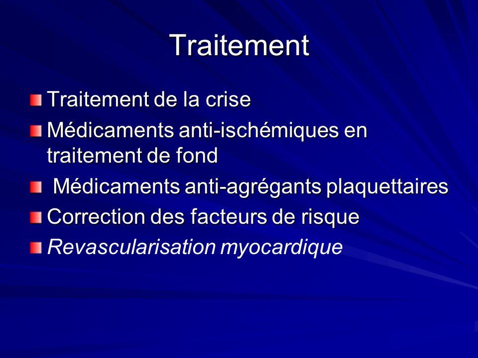 Traitement Traitement de la crise Médicaments anti-ischémiques en traitement de fond Médicaments anti-agrégants plaquettaires Médicaments anti-agrégan
