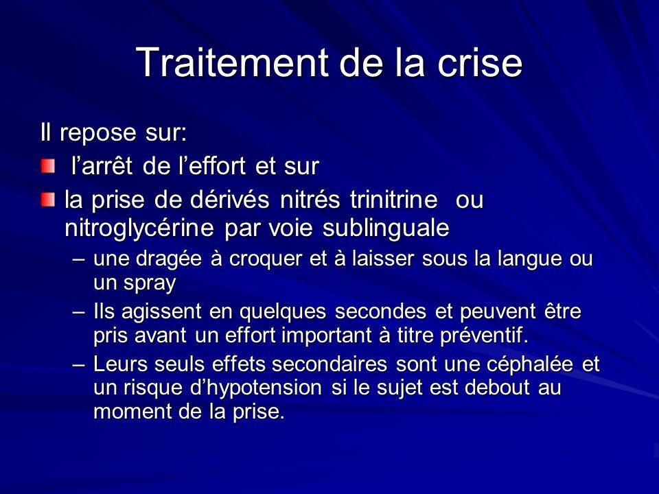 Traitement de la crise Il repose sur: larrêt de leffort et sur larrêt de leffort et sur la prise de dérivés nitrés trinitrine ou nitroglycérine par vo