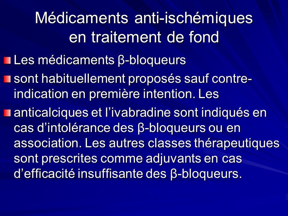 Médicaments anti-ischémiques en traitement de fond Les médicaments β-bloqueurs sont habituellement proposés sauf contre- indication en première intent