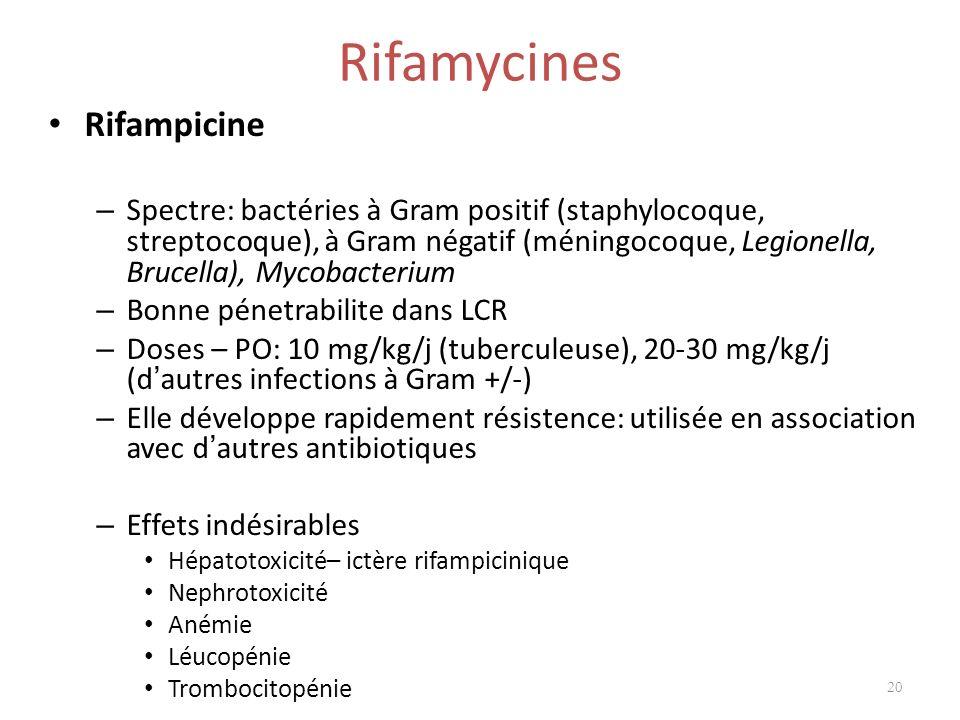 Rifamycines Rifampicine – Spectre: bactéries à Gram positif (staphylocoque, streptocoque), à Gram négatif (méningocoque, Legionella, Brucella), Mycoba