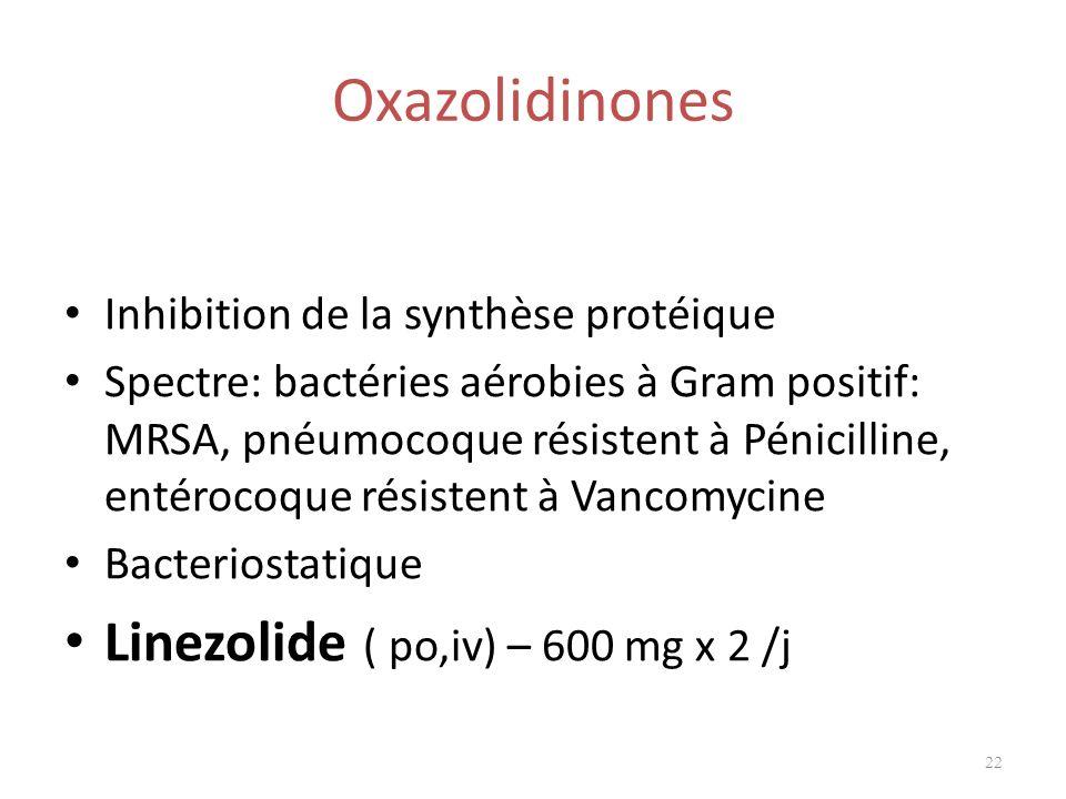 Oxazolidinones Inhibition de la synthèse protéique Spectre: bactéries aérobies à Gram positif: MRSA, pnéumocoque résistent à Pénicilline, entérocoque