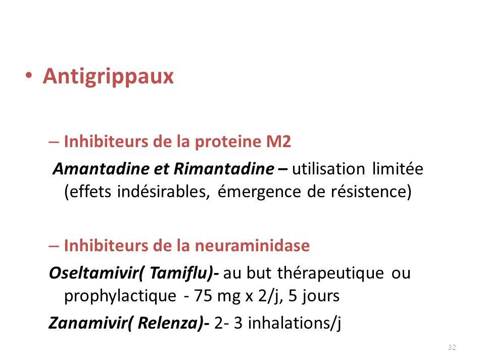 Antigrippaux – Inhibiteurs de la proteine M2 Amantadine et Rimantadine – utilisation limitée (effets indésirables, émergence de résistence) – Inhibite