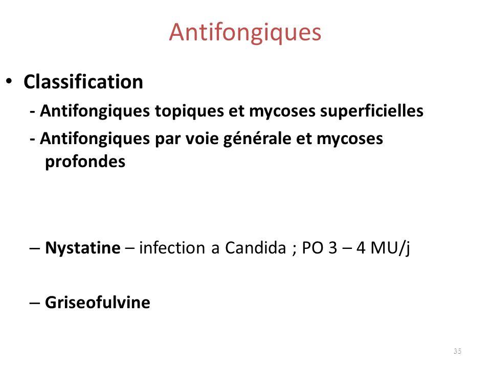 Antifongiques Classification - Antifongiques topiques et mycoses superficielles - Antifongiques par voie générale et mycoses profondes – Nystatine – i