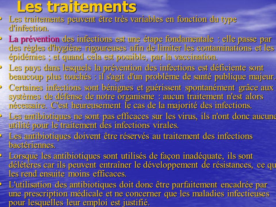Les traitements Les traitements peuvent être très variables en fonction du type d infection.