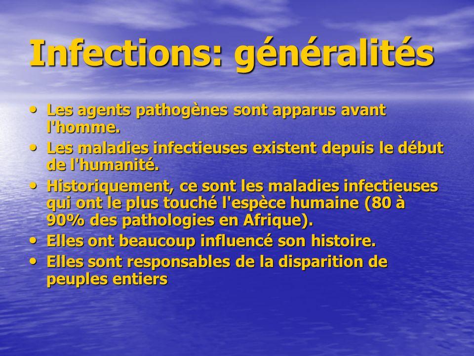 Infections: généralités Les agents pathogènes sont apparus avant l homme.