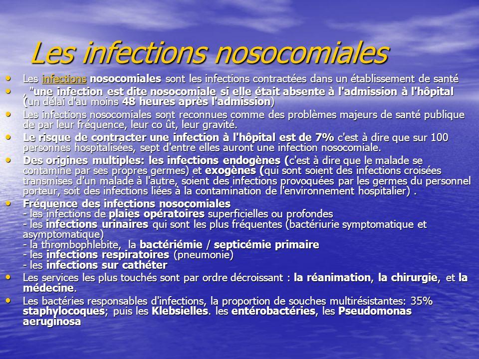 Les infections nosocomiales Les infections nosocomiales sont les infections contractées dans un établissement de santé Les infections nosocomiales sont les infections contractées dans un établissement de santéinfections, une infection est dite nosocomiale si elle était absente à l admission à l hôpital (un délai d au moins 48 heures après l admission), une infection est dite nosocomiale si elle était absente à l admission à l hôpital (un délai d au moins 48 heures après l admission) Les infections nosocomiales sont reconnues comme des problèmes majeurs de santé publique de par leur fréquence, leur co ût, leur gravité.