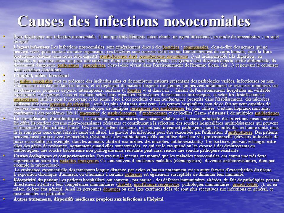 Causes des infections nosocomiales Pour développer une infection nosocomiale, il faut que trois éléments soient réunis :un agent infectieux ; un mode de transmission ; un sujet réceptif.