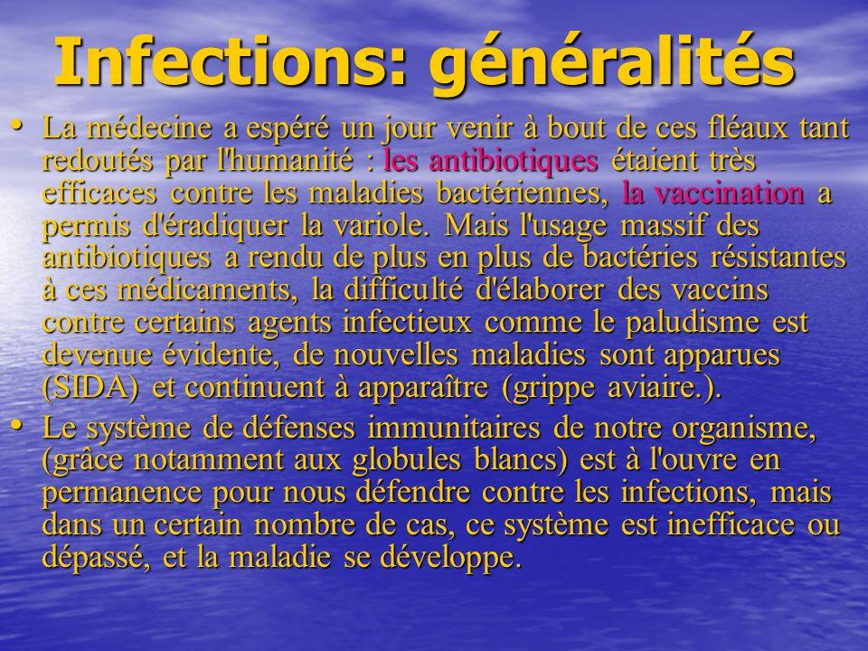 Infections: généralités La médecine a espéré un jour venir à bout de ces fléaux tant redoutés par l humanité : les antibiotiques étaient très efficaces contre les maladies bactériennes, la vaccination a permis d éradiquer la variole.