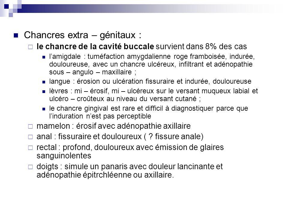 Chancres extra – génitaux : le chancre de la cavité buccale survient dans 8% des cas lamigdale : tuméfaction amygdalienne roge framboisée, indurée, do