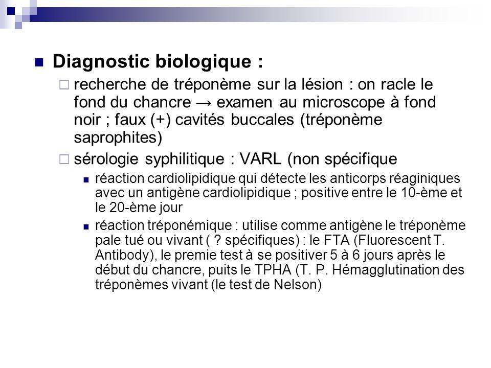 Diagnostic biologique : recherche de tréponème sur la lésion : on racle le fond du chancre examen au microscope à fond noir ; faux (+) cavités buccale