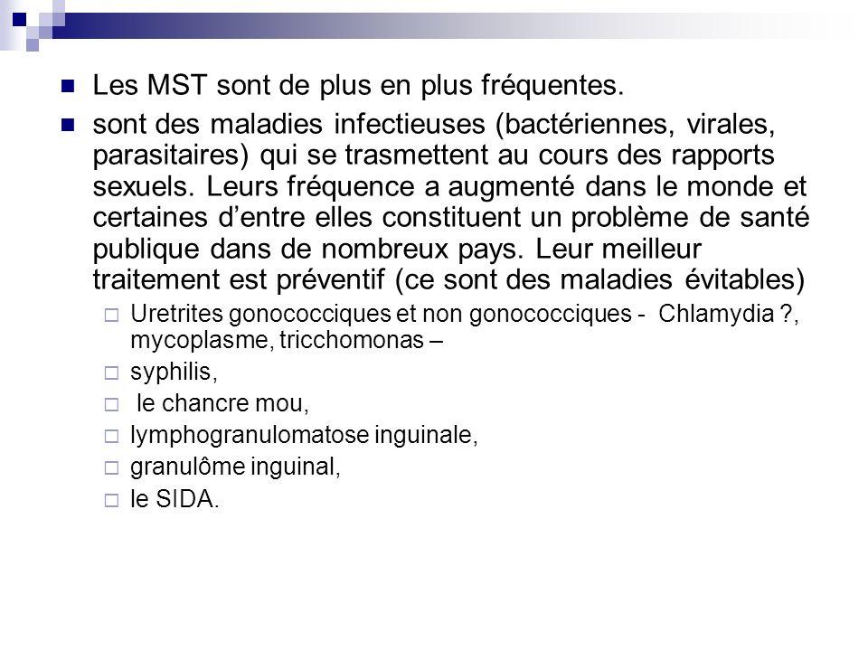 Les MST sont de plus en plus fréquentes. sont des maladies infectieuses (bactériennes, virales, parasitaires) qui se trasmettent au cours des rapports