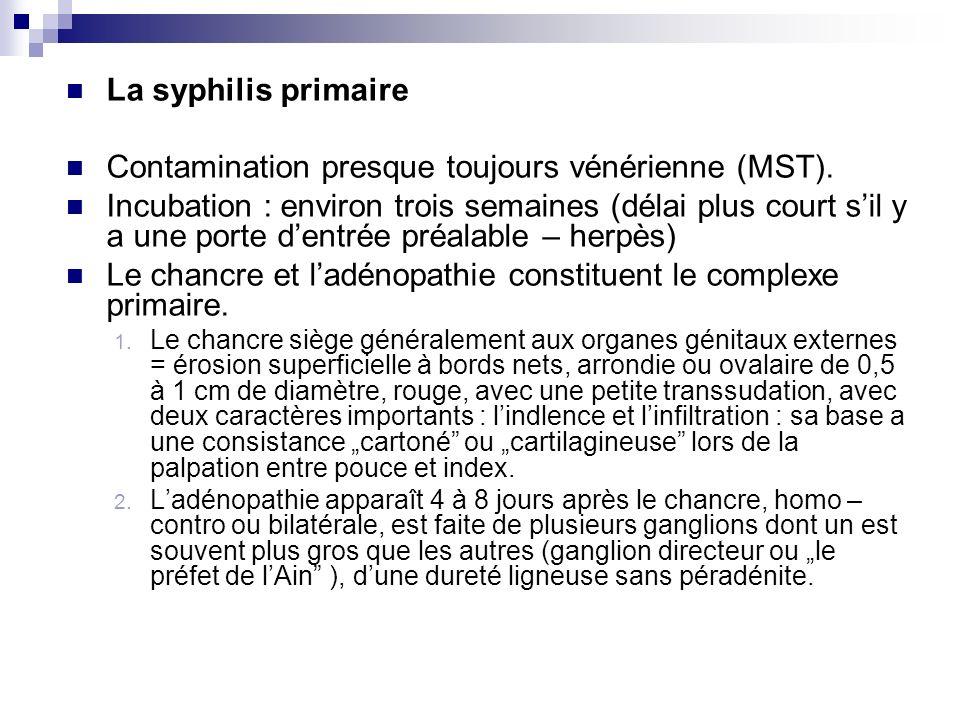 La syphilis primaire Contamination presque toujours vénérienne (MST). Incubation : environ trois semaines (délai plus court sil y a une porte dentrée