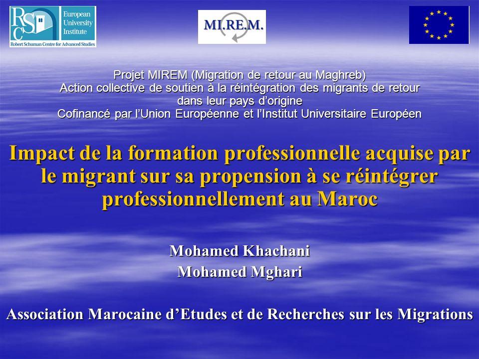 Projet MIREM (Migration de retour au Maghreb) Action collective de soutien à la réintégration des migrants de retour dans leur pays dorigine Cofinancé