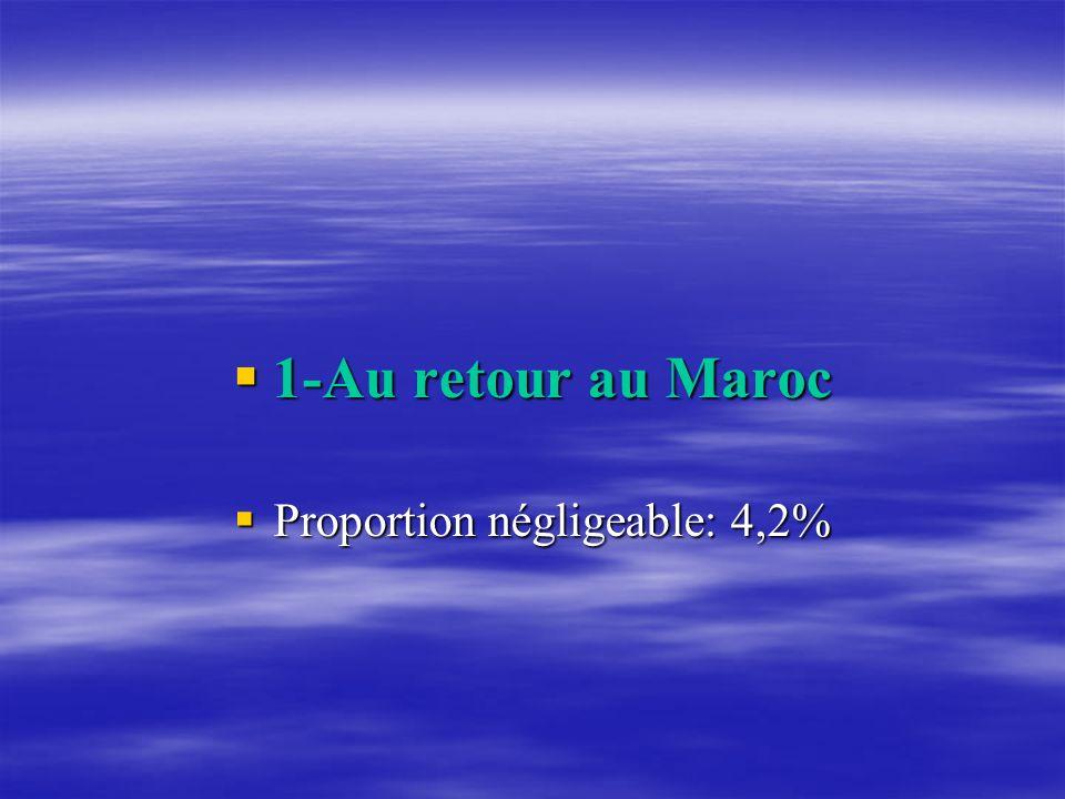 1-Au retour au Maroc 1-Au retour au Maroc Proportion négligeable: 4,2% Proportion négligeable: 4,2%
