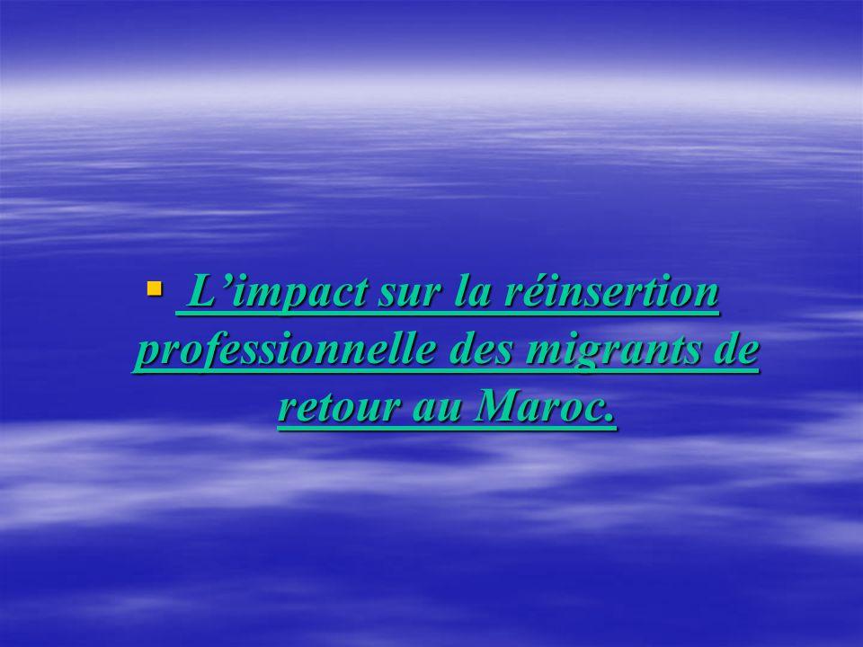 Limpact sur la réinsertion professionnelle des migrants de retour au Maroc. Limpact sur la réinsertion professionnelle des migrants de retour au Maroc