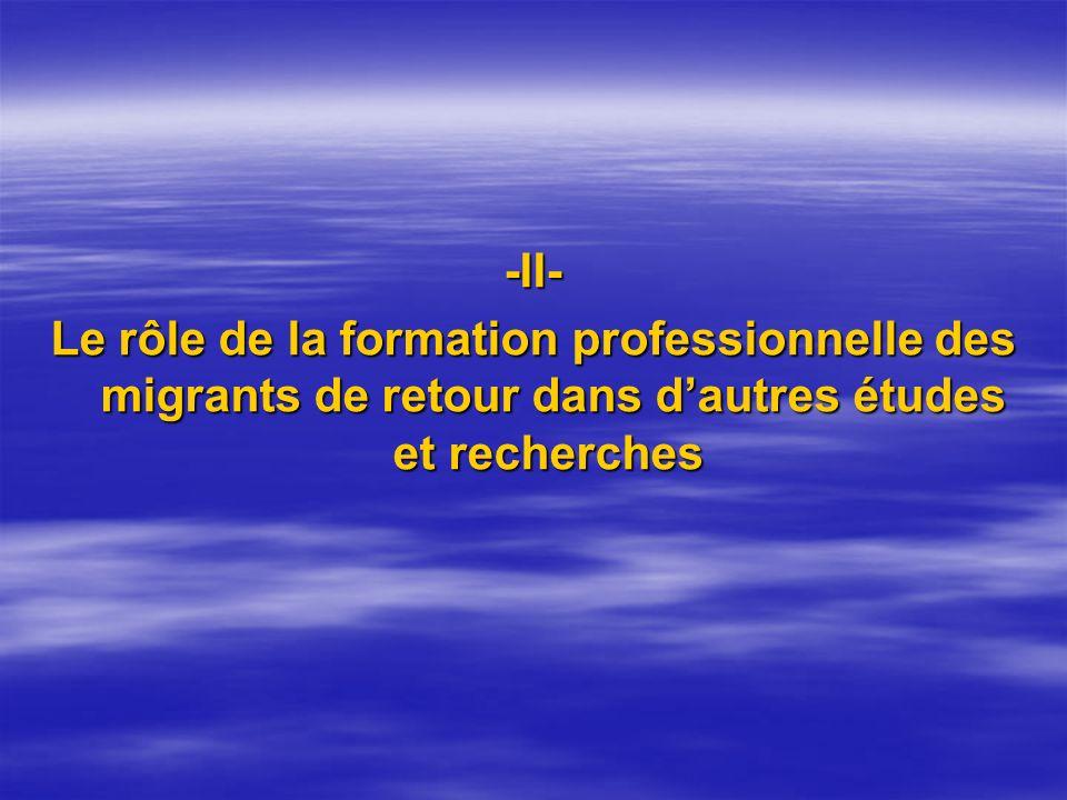 -II- Le rôle de la formation professionnelle des migrants de retour dans dautres études et recherches Le rôle de la formation professionnelle des migr