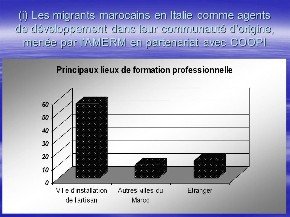 (i) Les migrants marocains en Italie comme agents de développement dans leur communauté dorigine, menée par lAMERM en partenariat avec COOPI