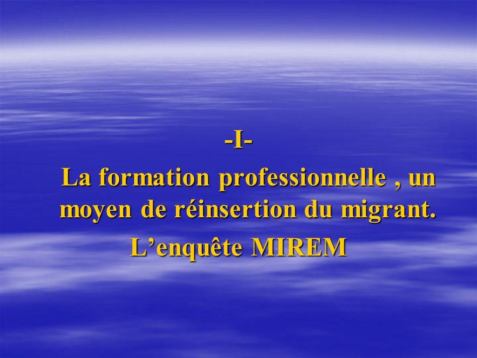 -I- La formation professionnelle, un moyen de réinsertion du migrant. La formation professionnelle, un moyen de réinsertion du migrant. Lenquête MIREM