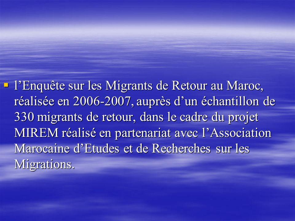 lEnquête sur les Migrants de Retour au Maroc, réalisée en 2006-2007, auprès dun échantillon de 330 migrants de retour, dans le cadre du projet MIREM r