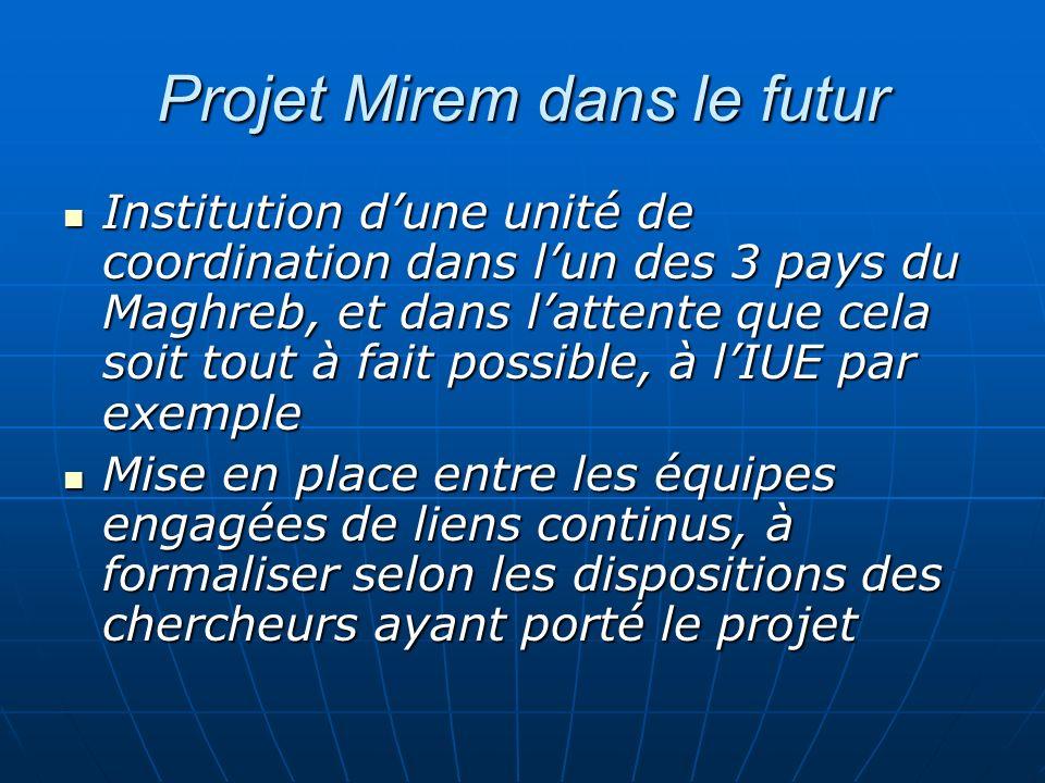 Projet Mirem dans le futur Institution dune unité de coordination dans lun des 3 pays du Maghreb, et dans lattente que cela soit tout à fait possible,